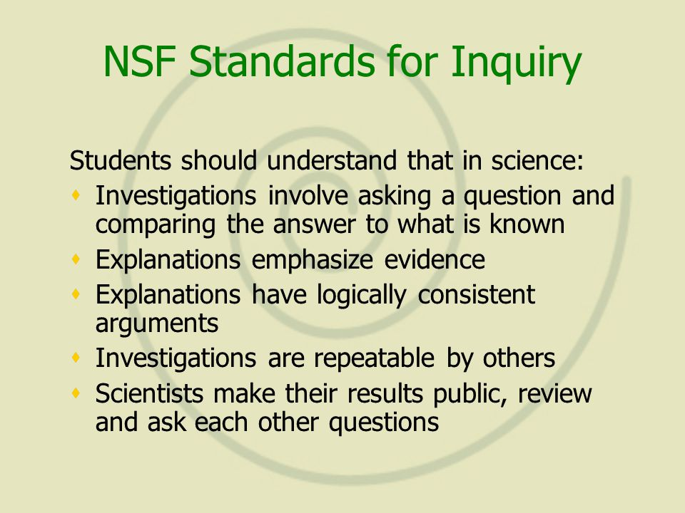 NSF Standards for Inquiry Students should understand that in science:  Investigations involve asking a question and comparing the answer to what is known  Explanations emphasize evidence  Explanations have logically consistent arguments  Investigations are repeatable by others  Scientists make their results public, review and ask each other questions Students should understand that in science:  Investigations involve asking a question and comparing the answer to what is known  Explanations emphasize evidence  Explanations have logically consistent arguments  Investigations are repeatable by others  Scientists make their results public, review and ask each other questions