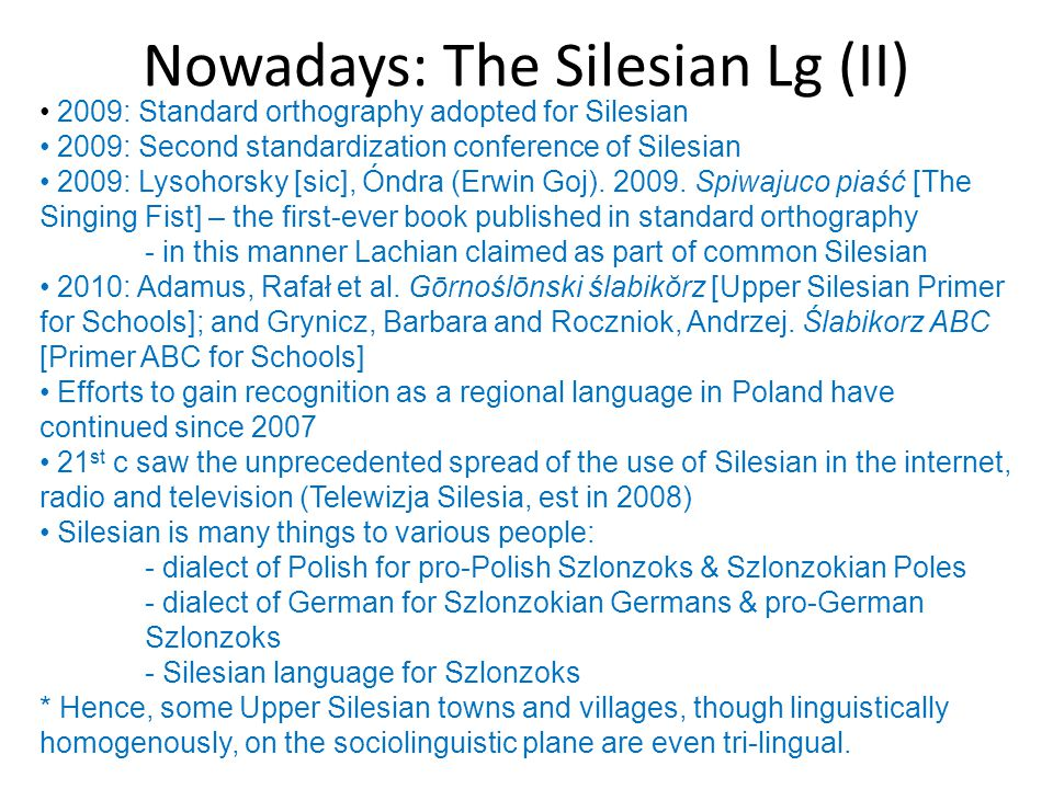 Nowadays: The Silesian Lg (II) 2009: Standard orthography adopted for Silesian 2009: Second standardization conference of Silesian 2009: Lysohorsky [s