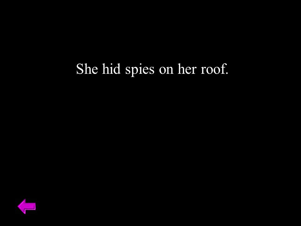 She hid spies on her roof.