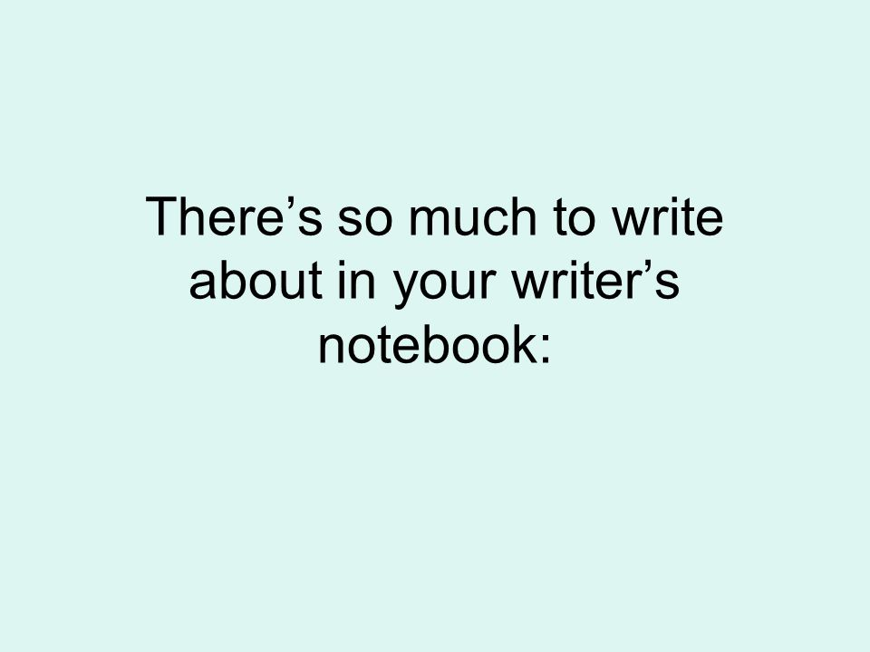 There's so much to write about in your writer's notebook: