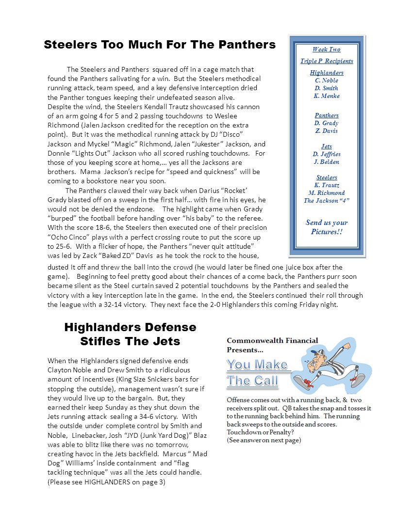 Week Two Triple P Recipients Highlanders C. Noble D.