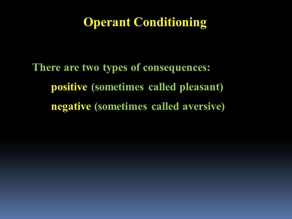 Operant Conditioning There are two types of consequences: positive (sometimes called pleasant) negative (sometimes called aversive)
