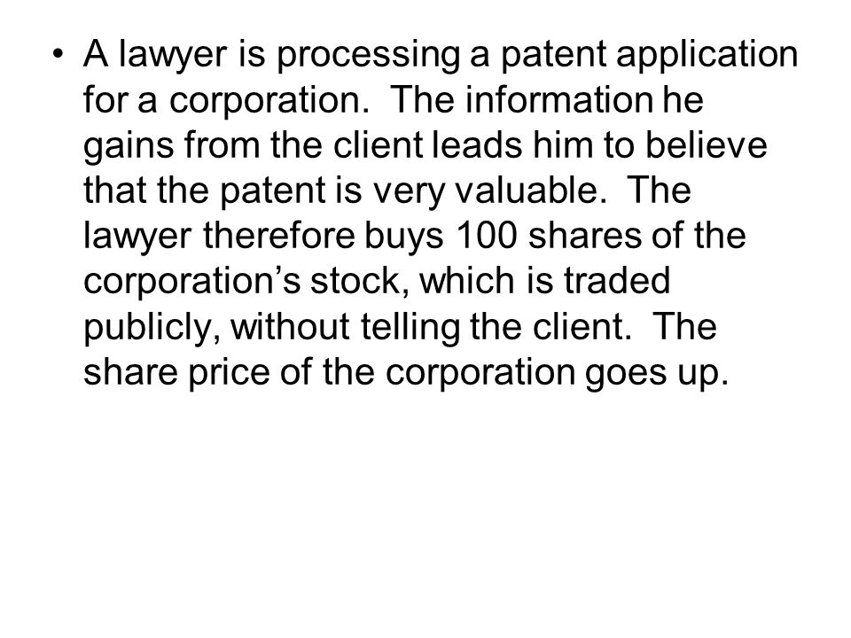 A lawyer is processing a patent application for a corporation.