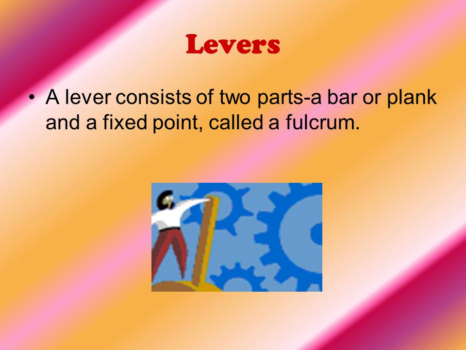 Levers A lever consists of two parts-a bar or plank and a fixed point, called a fulcrum.