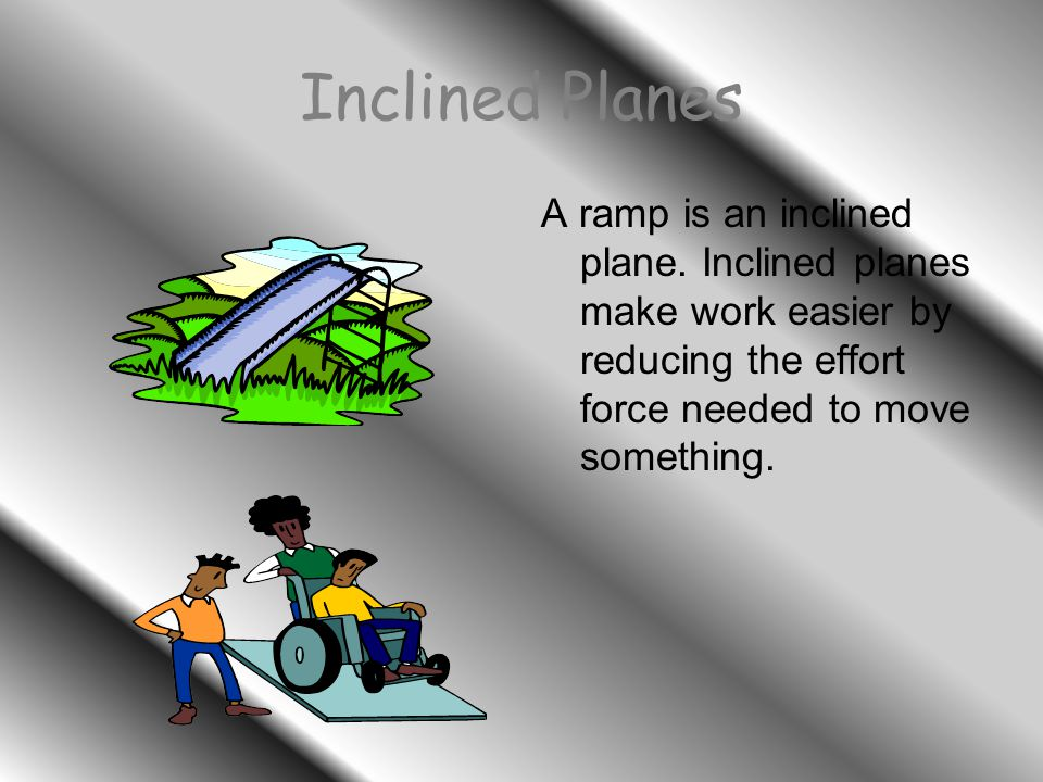 Inclined Planes A ramp is an inclined plane.