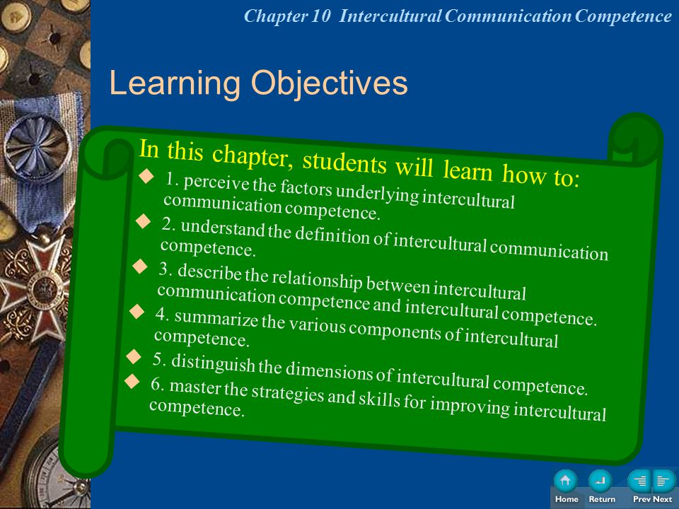 Learning Objectives In this chapter, students will learn how to:  1. perceive the factors underlying intercultural communication competence.  2. und