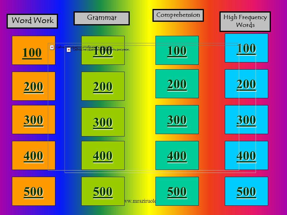 www.mrsziruolo.com 100 200 400 300 400 Word Work Grammar Comprehension High Frequency Words 300 200 400 200 100 500 100