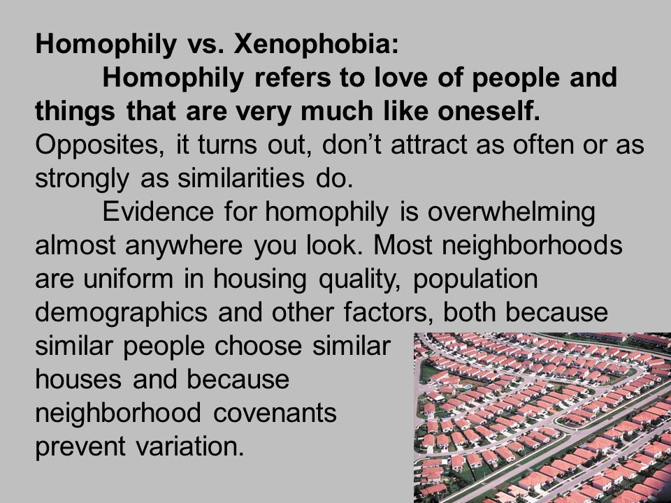 Homophily vs. Xenophobia: Homophily refers to love of people and things that are very much like oneself. Opposites, it turns out, don't attract as oft