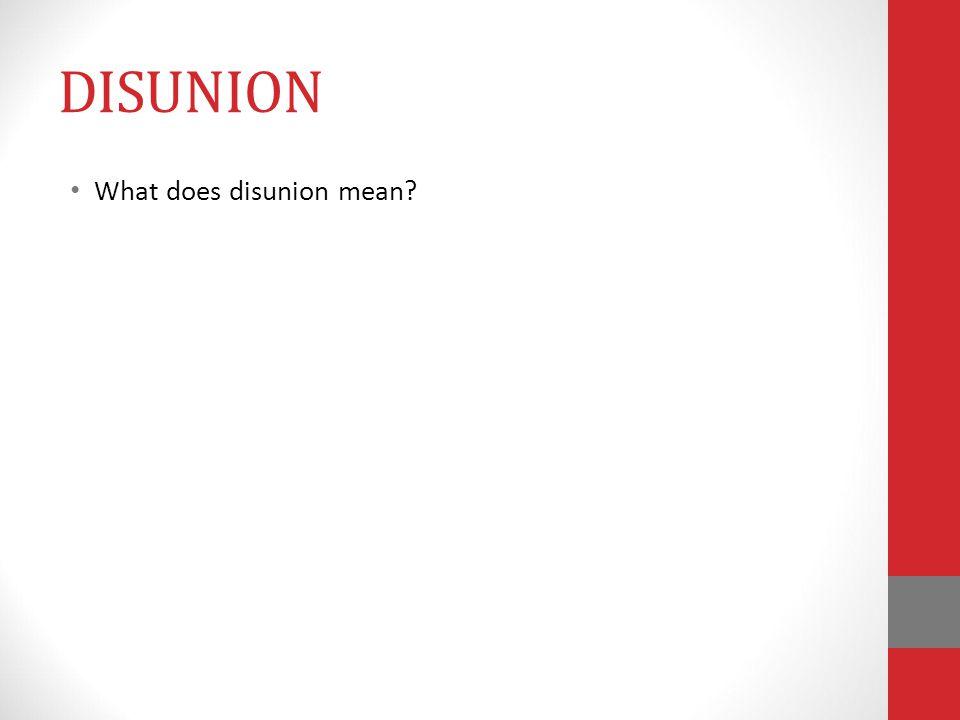 DISUNION What does disunion mean?