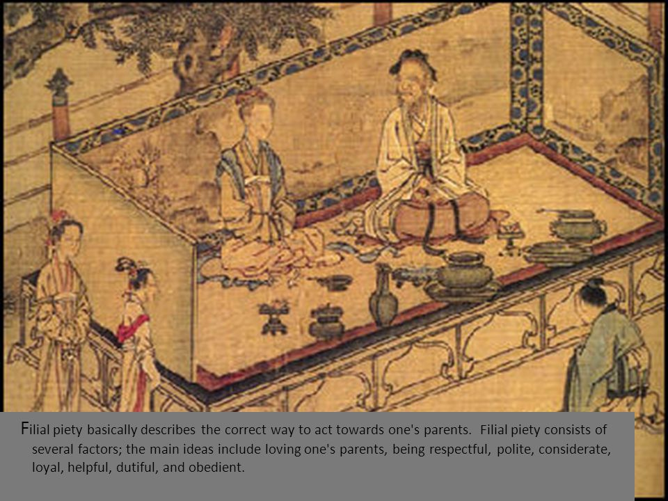F ilial piety basically describes the correct way to act towards one s parents.