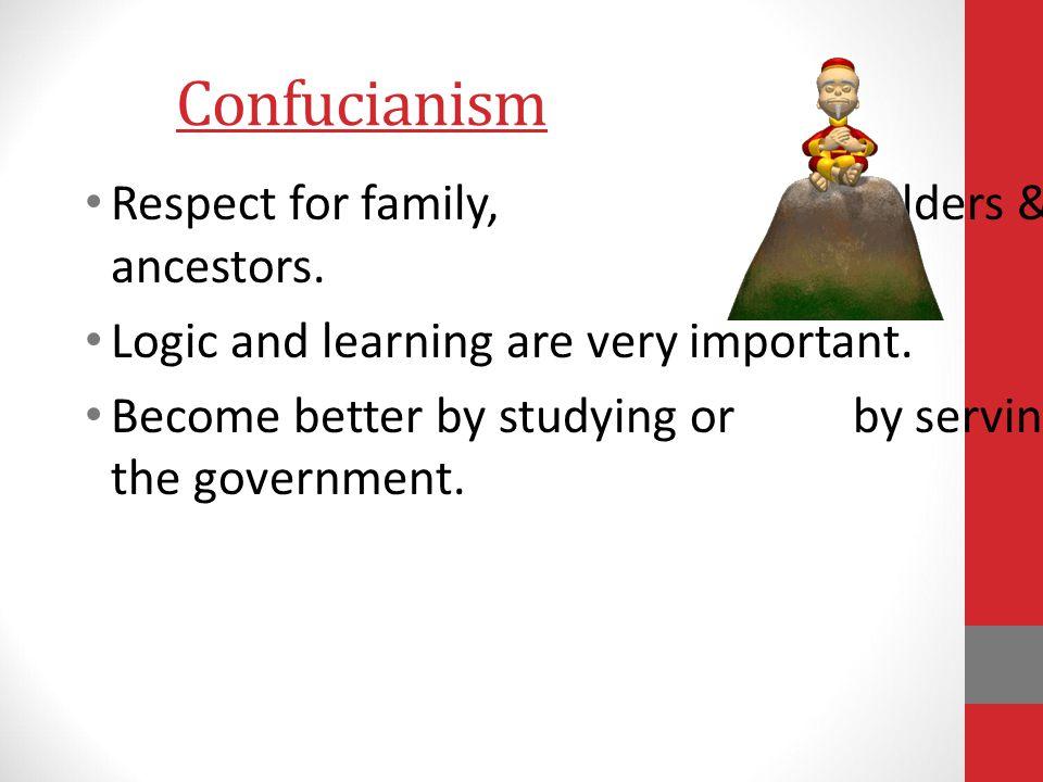 Confucianism Respect for family, elders & ancestors.