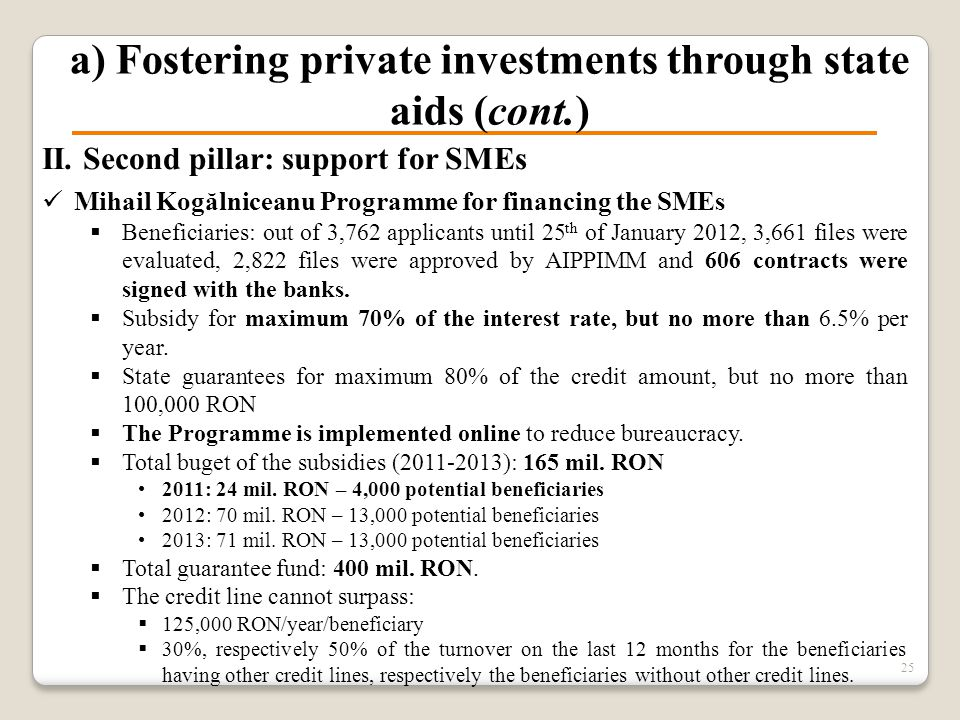 a) Fostering private investments through state aids (cont.) II. Second pillar: support for SMEs Mihail Kogălniceanu Programme for financing the SMEs 