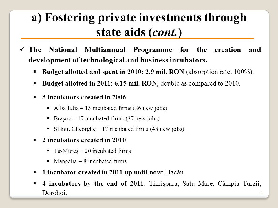 a) Fostering private investments through state aids (cont.) The National Multiannual Programme for the creation and development of technological and b