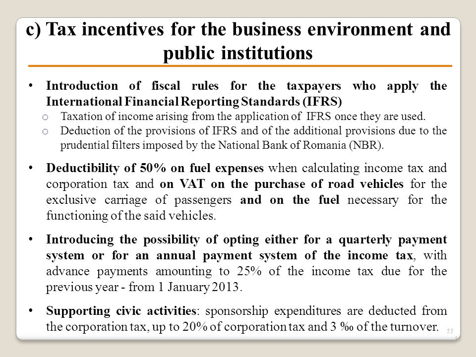 55 c) Tax incentives for the business environment and public institutions Introduction of fiscal rules for the taxpayers who apply the International F