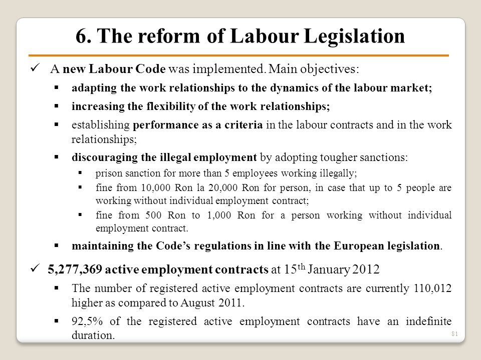 6. The reform of Labour Legislation A new Labour Code was implemented. Main objectives:  adapting the work relationships to the dynamics of the labou