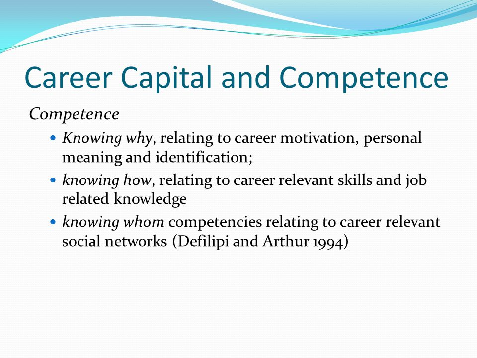 Career Capital and Competence Concept of career capital derived from the work of Pierre Bourdieu.