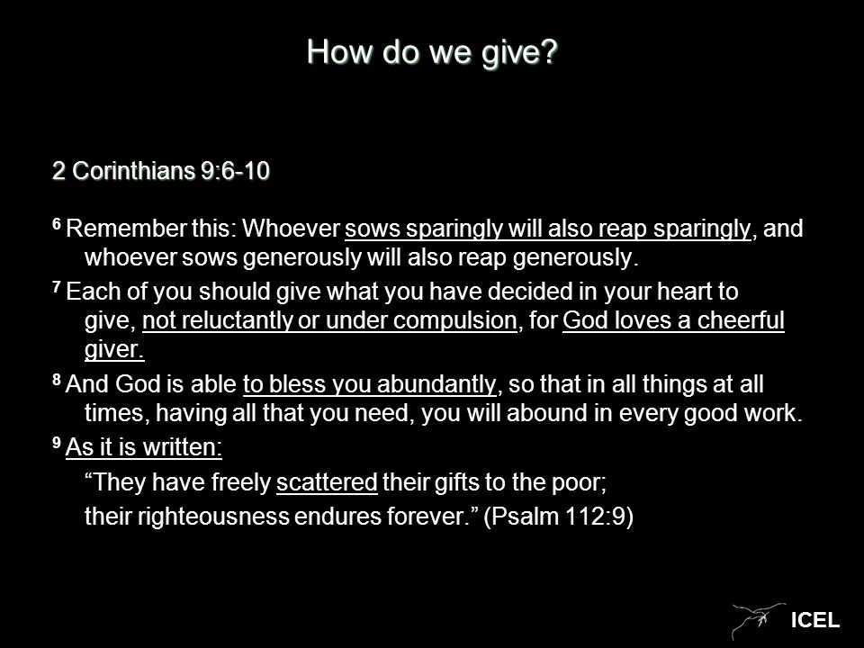 ICEL How do we give.
