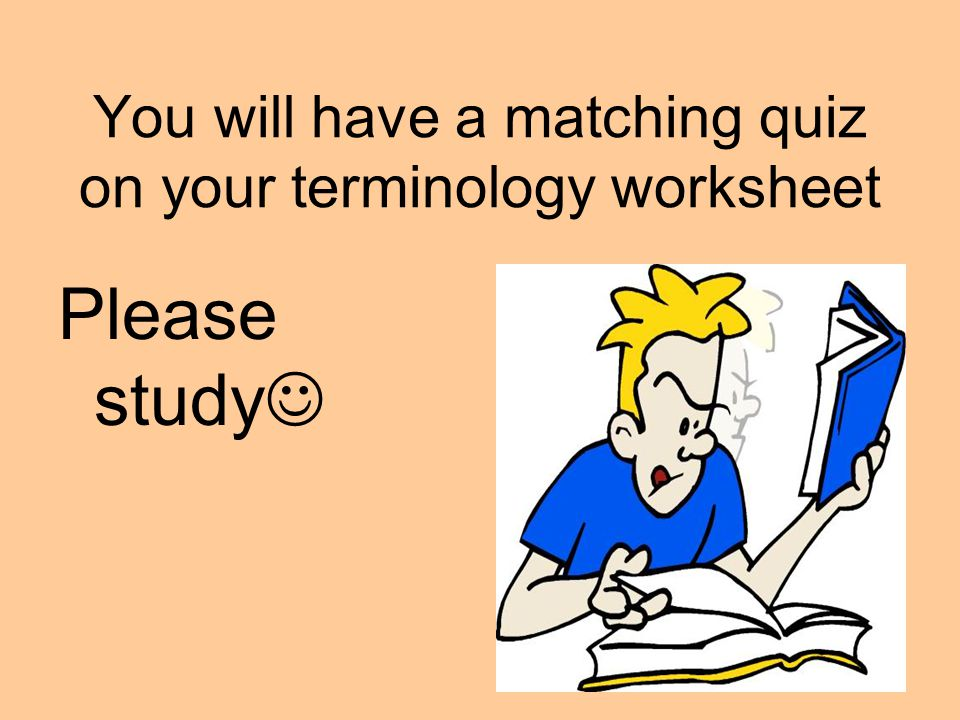 You will have a matching quiz on your terminology worksheet Please study