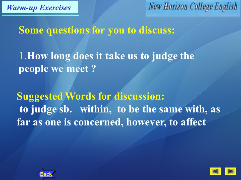 Text Analysis: Devices of Developing Back Part II: Part III: Take a good look at yourself.Do you say I too often?Are you usually focused on your own problems?Do you complain frequently?If you answered yes to even one of these questions,you need to lighten up.(Para.15)Take a good look at yourself.Do you say I too often?Are you usually focused on your own problems?Do you complain frequently?If you answered yes to even one of these questions,you need to lighten up.(Para.15) Take a good look at yourself.