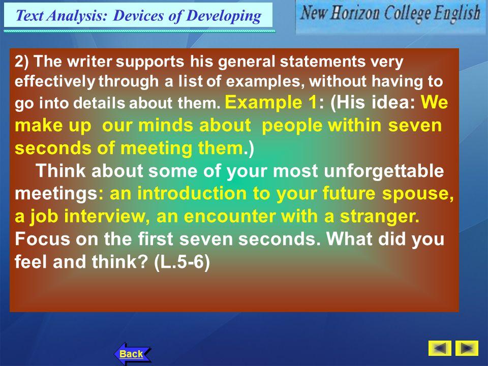 Text Analysis: Language Points Back 8.…a job interview… ( Para.