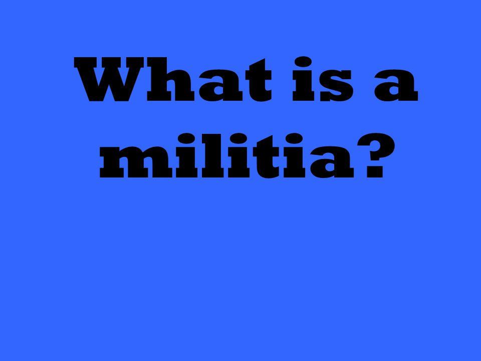 What is a militia?