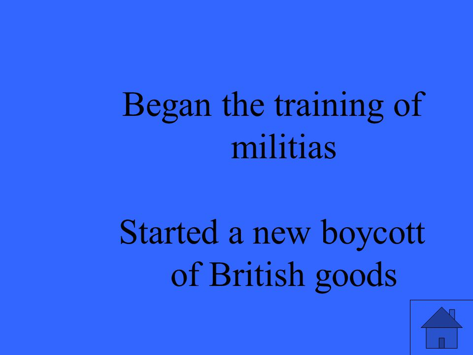 Began the training of militias Started a new boycott of British goods