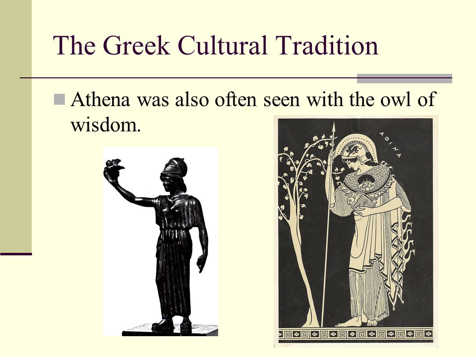 The Greek Cultural Tradition Athena was also often seen with the owl of wisdom.