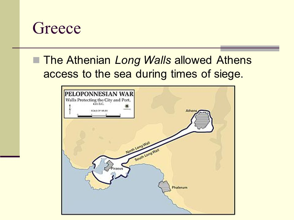 Greece The Athenian Long Walls allowed Athens access to the sea during times of siege.