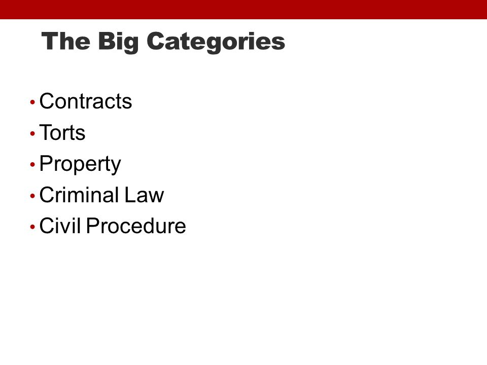 The Big Categories Contracts Torts Property Criminal Law Civil Procedure