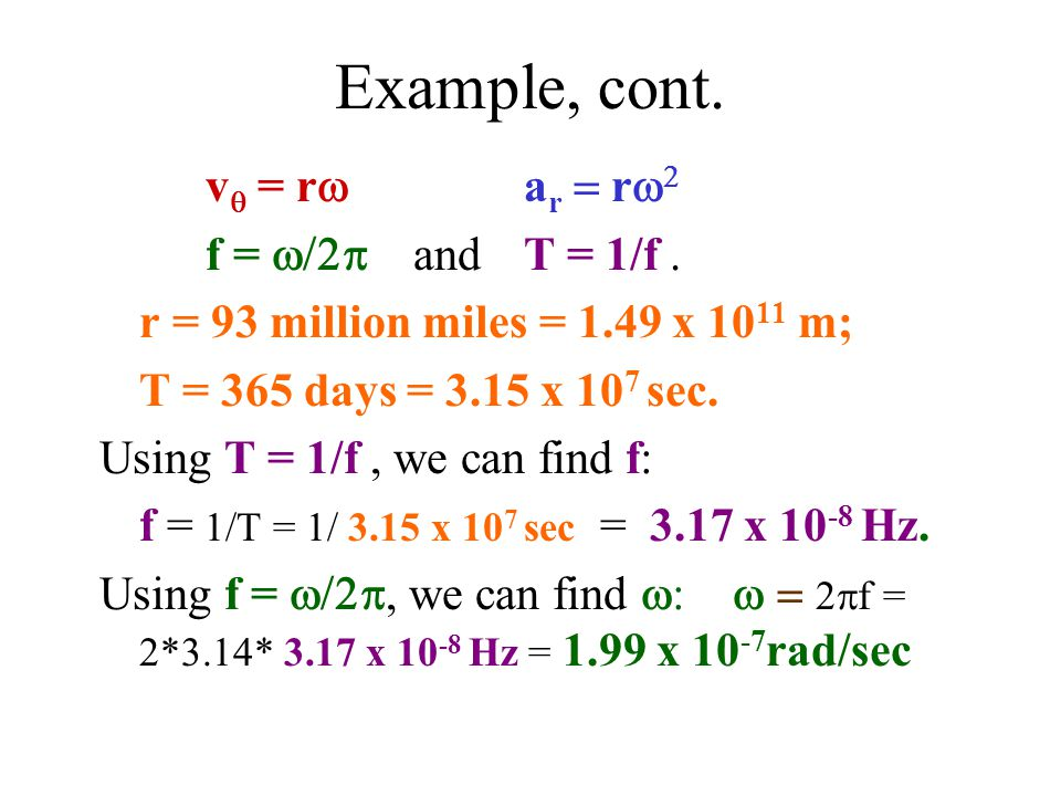 Example, cont. v  = r  a r  r   f =  and  T = 1/f.