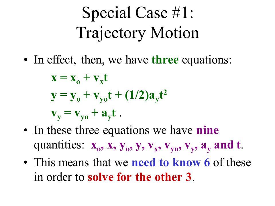Example of Trajectory Motion x o = 0 ma y = -9.8 m/s 2 y o = 12 m v xo = 25.28 m/s t = v yo = 21.21 m/s x = .