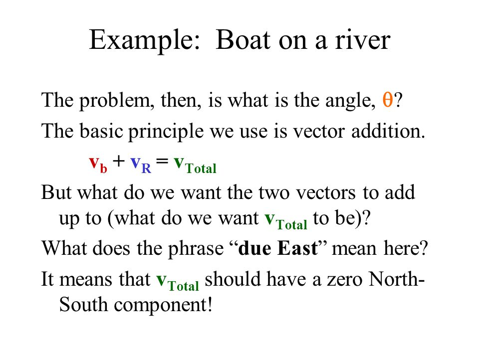 Example: Boat on a river The problem, then, is what is the angle,  .