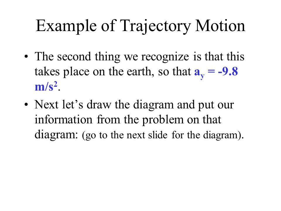 Example of Trajectory Motion The second thing we recognize is that this takes place on the earth, so that a y = -9.8 m/s 2.