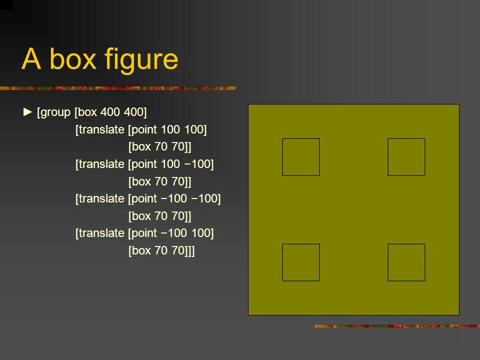 A box figure ► [group [box 400 400] [translate [point 100 100] [box 70 70]] [translate [point 100 −100] [box 70 70]] [translate [point −100 −100] [box 70 70]] [translate [point −100 100] [box 70 70]]]