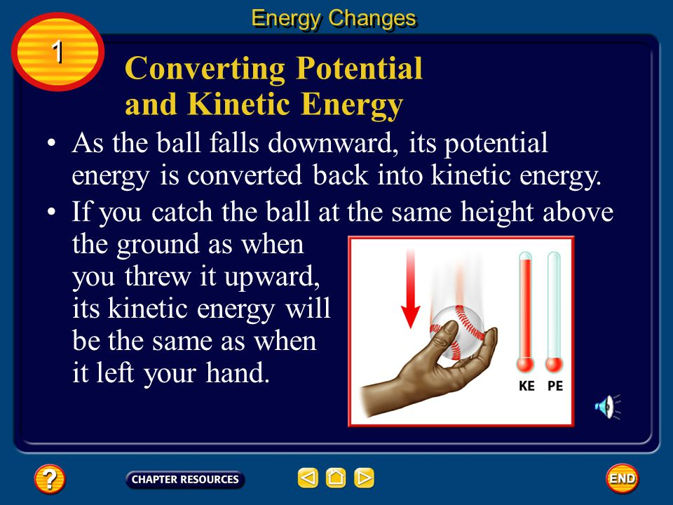 Converting Potential and Kinetic Energy Energy Changes 1 1 At its highest point, the ball comes to a stop for an instant before it starts to fall downward again.