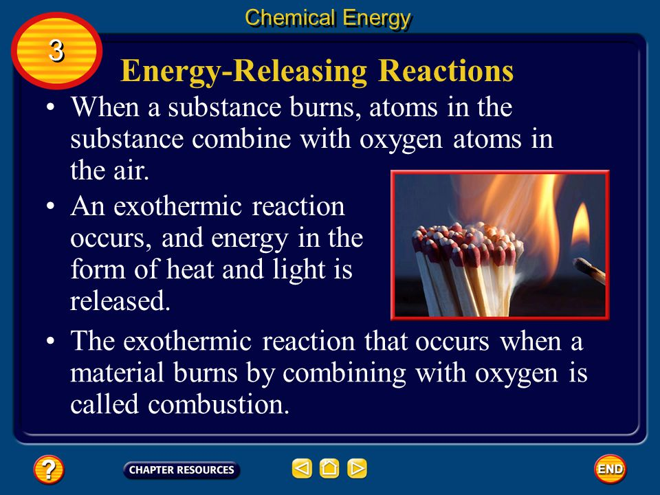 Energy-Releasing Reactions Endothermic chemical reactions are usually important because of the compounds the reactions produce.