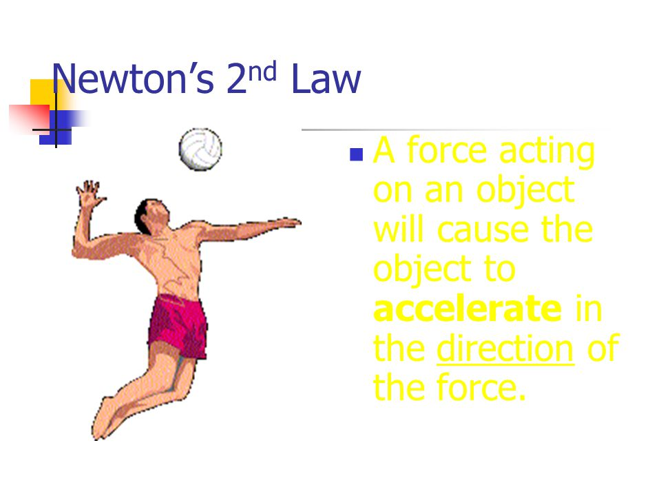 Newton's 2 nd Law A force acting on an object will cause the object to accelerate in the direction of the force.