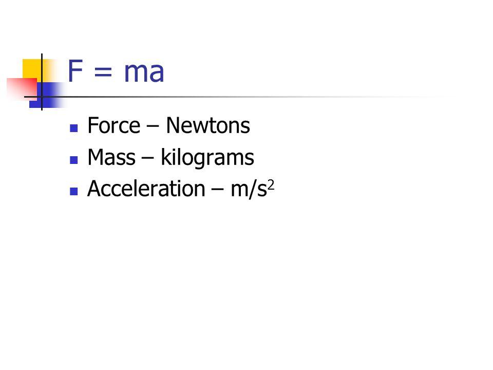 F = ma Force – Newtons Mass – kilograms Acceleration – m/s 2