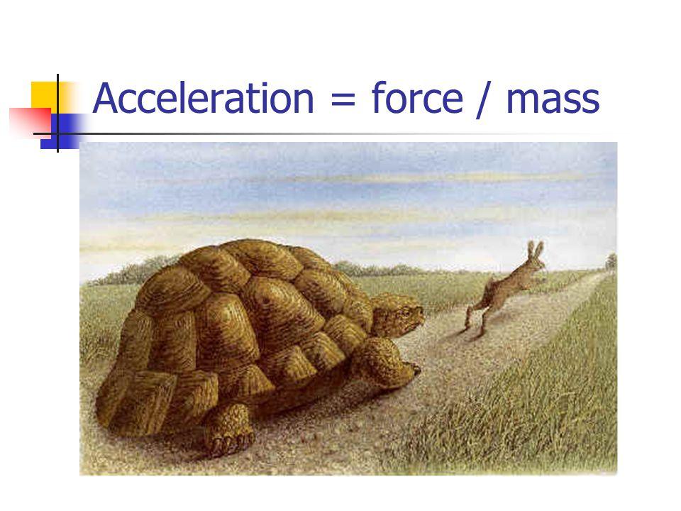 Acceleration = force / mass