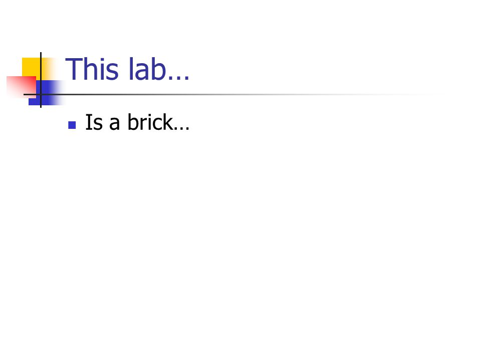 This lab… Is a brick…