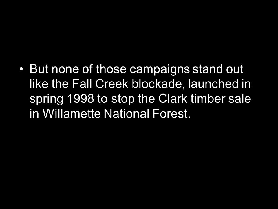 But none of those campaigns stand out like the Fall Creek blockade, launched in spring 1998 to stop the Clark timber sale in Willamette National Forest.