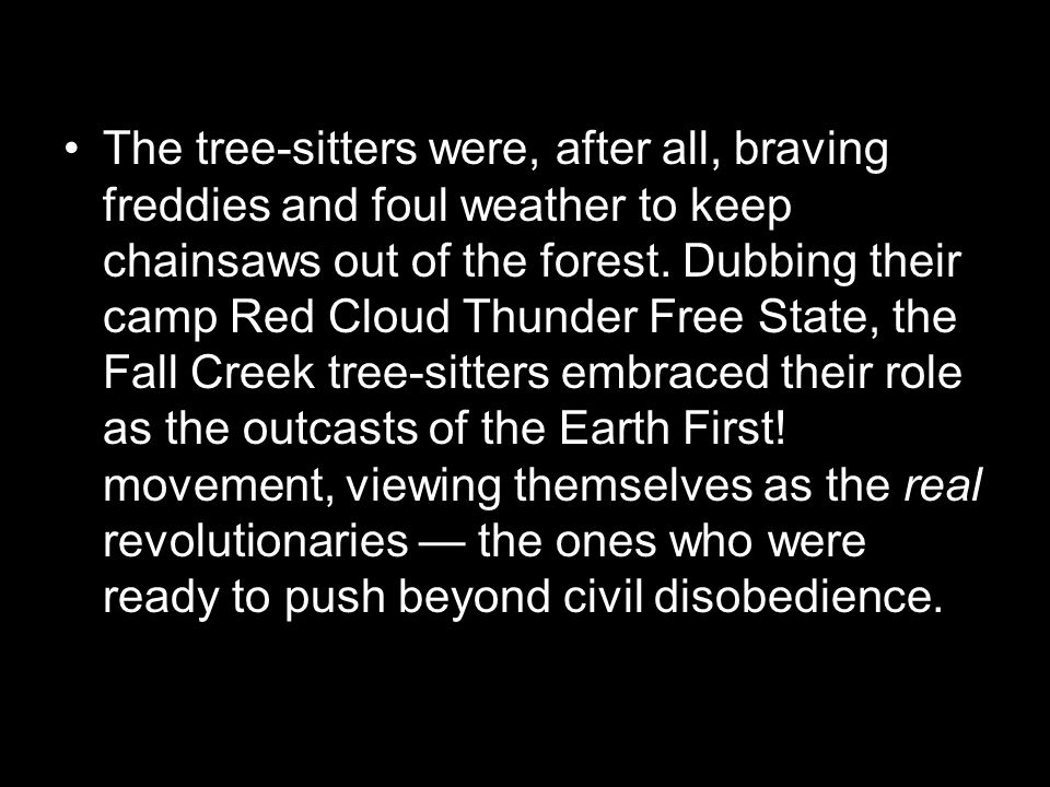 The tree-sitters were, after all, braving freddies and foul weather to keep chainsaws out of the forest.