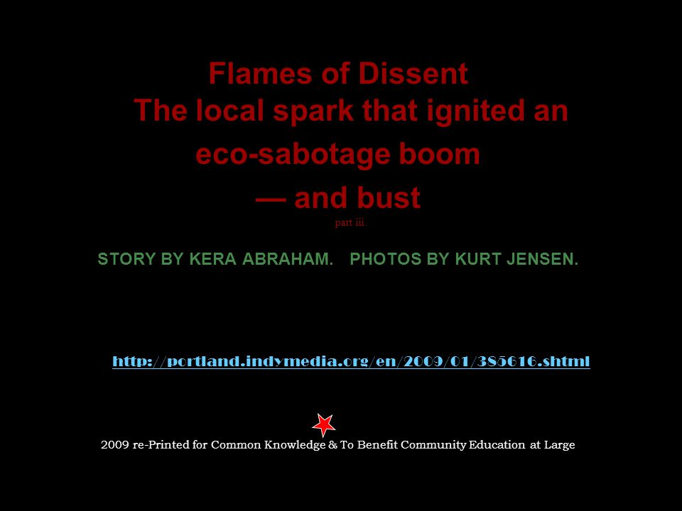 Flames of Dissent The local spark that ignited an eco-sabotage boom — and bust part iii.