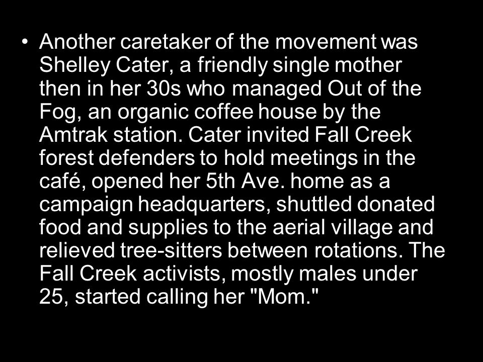 Another caretaker of the movement was Shelley Cater, a friendly single mother then in her 30s who managed Out of the Fog, an organic coffee house by the Amtrak station.