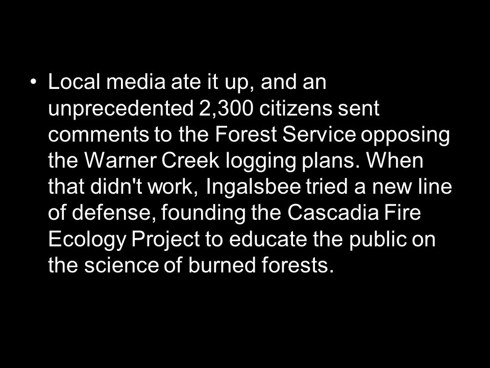 Local media ate it up, and an unprecedented 2,300 citizens sent comments to the Forest Service opposing the Warner Creek logging plans.