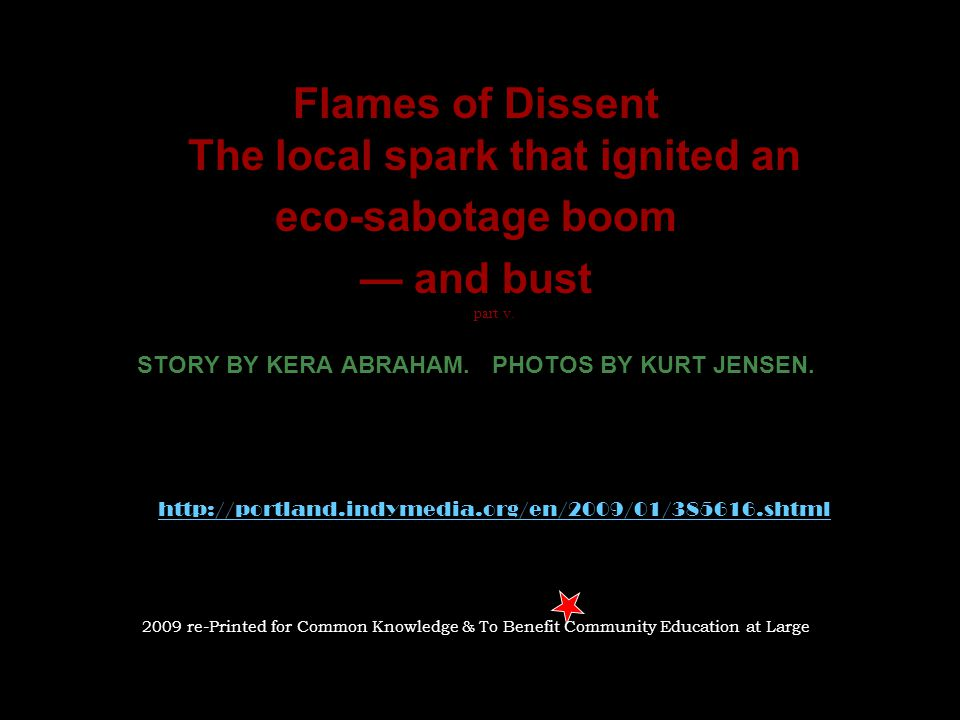 Flames of Dissent The local spark that ignited an eco-sabotage boom — and bust part v.