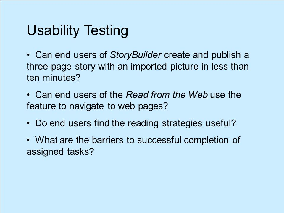 Can end users of StoryBuilder create and publish a three-page story with an imported picture in less than ten minutes.