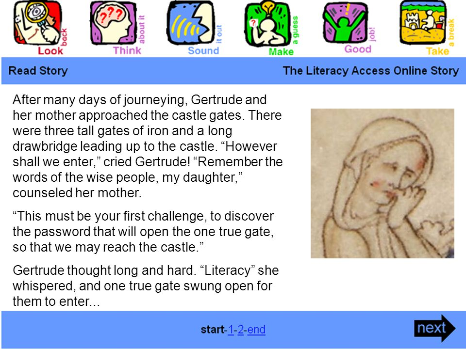 After many days of journeying, Gertrude and her mother approached the castle gates.