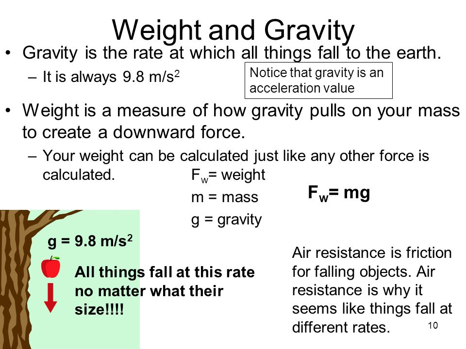 10 Weight and Gravity Gravity is the rate at which all things fall to the earth. –It is always 9.8 m/s 2 Weight is a measure of how gravity pulls on y