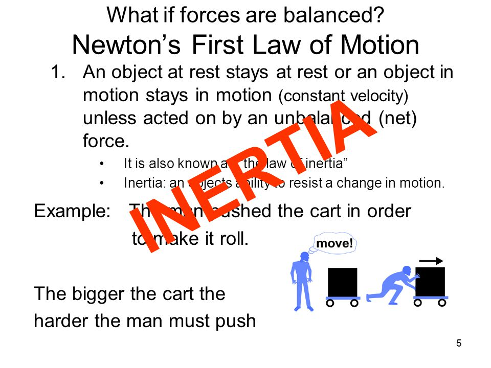 5 Example: The man pushed the cart in order to make it roll. The bigger the cart the harder the man must push What if forces are balanced? Newton's Fi